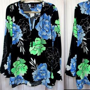 Rafaella Generously Sized Floral Print Tunic Blous